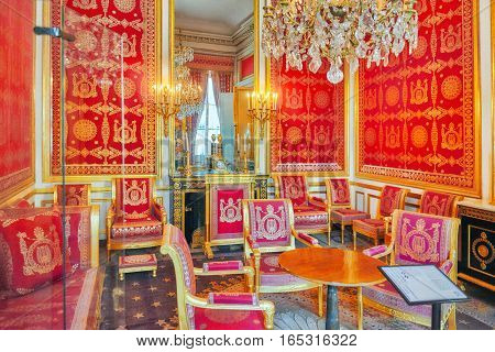 Fontainebleau, France - July 09, 2016 : Fontainebleau Palace Interiors. Chateau Was One Of The Main