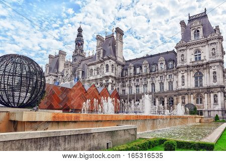 Paris, France - July 08, 2016 : Hotel De Ville In Paris, Is The Building Housing City's Local Admini
