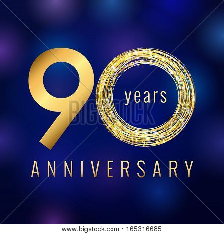 Anniversary 90 year number gold colored vector logo. Ninety years colorful greeting card. Holiday shining icon. Blue background. Business, fashion, music, arts lighting sign. Celebration event symbol.
