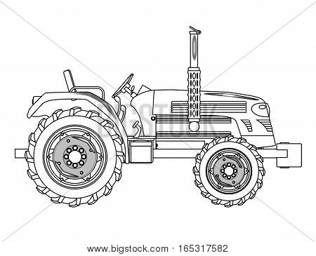 A typical modern farmyard tractor over a white background
