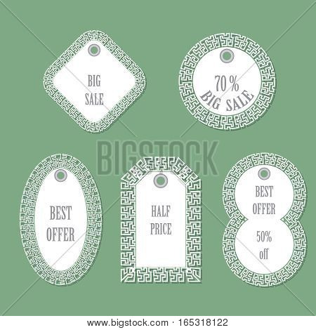 Set of tags. Clothes and other. Vector illustration