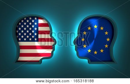 Image relative to politic and economic relationship between USA and Europe. National flags inside the heads of the businessmen. Teamwork concept. 3D rendering. Neon light