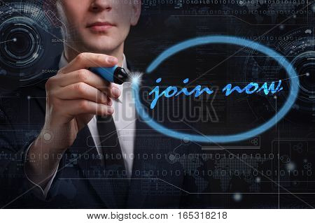 Business, Technology, Internet And Network Concept. Young Business Man Writing Word: Join Now