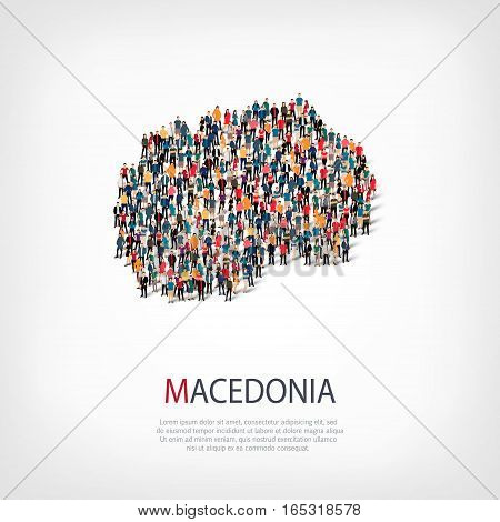 Isometric set of styles, people, map of Macedonia , country, web infographics concept of crowded space, flat 3d. Crowd point group forming a predetermined shape. Creative people. Vector illustration. Photo vector.3D illustration. White background . Isolat
