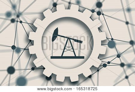 Image relative to oil mining industry. Oil pump cut out icon. Molecule And Communication Background. Connected lines with dots. White gear with shadows. Shallow depth of field