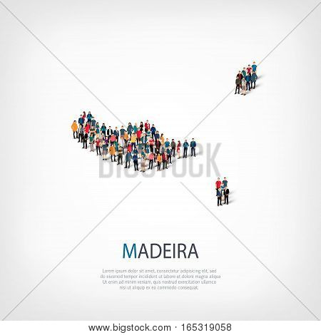 Isometric set of styles, people, map of Madeira , country, web infographics concept of crowded space, flat 3d. Crowd point group forming a predetermined shape. Creative people. Vector illustration. Photo vector.3D illustration. White background . Isolated