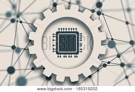 CPU Microprocessor flat style icon. Molecule And Communication Background. Connected lines with dots. White gear with shadows. Shallow depth of field