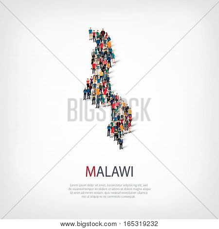 Isometric set of styles, people, map of Malawi , country, web infographics concept of crowded space, flat 3d. Crowd point group forming a predetermined shape. Creative people. Vector illustration. Photo vector.3D illustration. White background . Isolated.