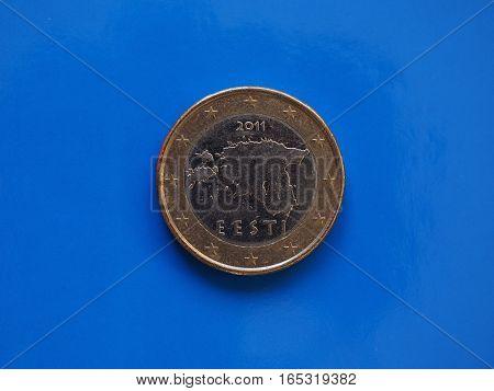 1 Euro Coin, European Union, Estonia Over Blue