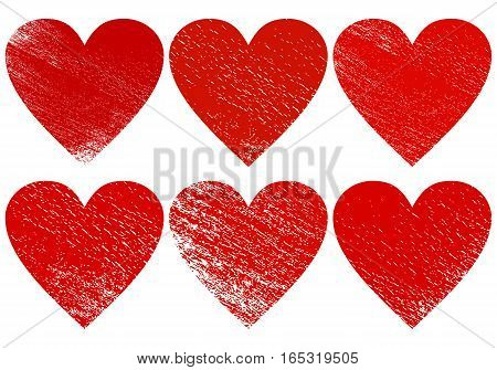 Grunge hearts. Textured signs of Valentine's Day isolated on white background. Vector set illustration. Clip art.