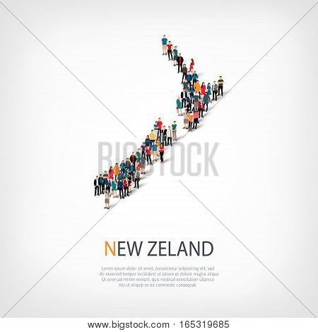 Isometric set of styles, people, map of New Zealand, country, web infographics concept of crowded space, flat 3d. Crowd point group forming a predetermined shape. Creative people. Vector illustration. Photo vector.3D illustration. White background . Isola