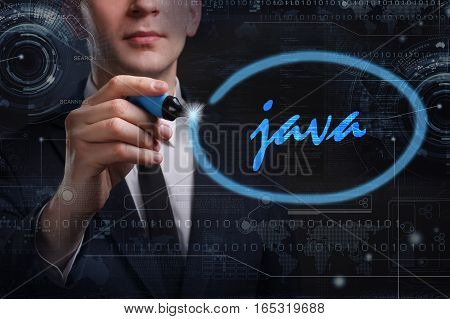 Business, Technology, Internet And Network Concept. Young Business Man Writing Word: Java