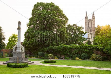 View of Canterbury Cathedral from Queningate at the summer sunset. Canterbury Kent United Kingdom