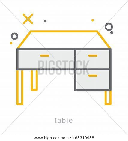 Thin line icons, Linear symbols, Table icon