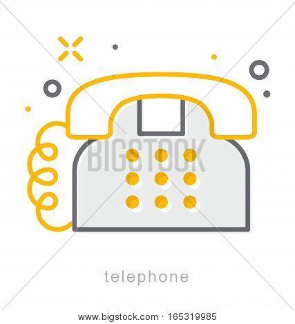 Thin line icons, Linear symbols, Telephone icon