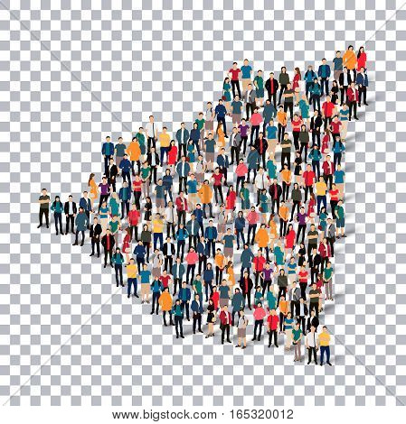 Isometric set of styles, people, map of Nicaragua , country, web infographics concept of crowded space, flat 3d. Crowd point group forming a predetermined shape. Creative people. Vector illustration. Photo vector.3D illustration. Transparent background .