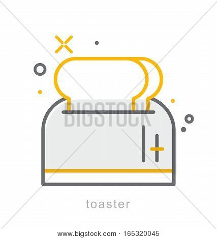 Thin line icons, Linear symbols, Toaster icon