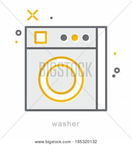 Thin line icons, Linear symbols, Washer icon