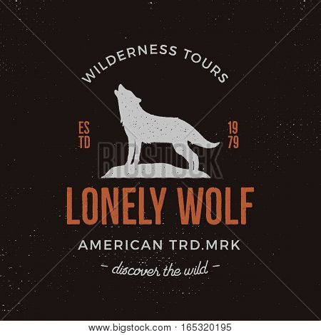 Old style wilderness label with wolf and typography elements. Vintage letterpress effect print. Prints of howling wolf. Unique design for t-shirts. Hand drawn wolf insignia, rustic design. Vector.