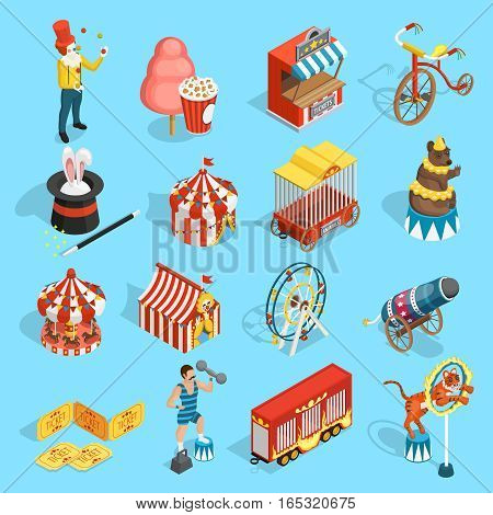 Travel chapiteau circus classic vintage isometric icons set with tent strongman magician and tiger isolated vector illustration