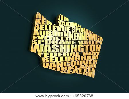 Word cloud map of Washington state. Cities list collage. Golden material. 3D rendering