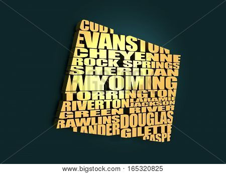 Word cloud map of Wyoming state. Cities list collage. Golden material. 3D rendering