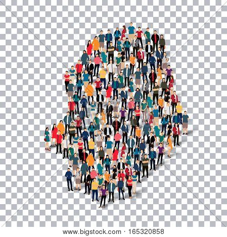 Isometric set of styles, people, map of Niue , country, web infographics concept of crowded space, flat 3d. Crowd point group forming a predetermined shape. Creative people. Vector illustration. Photo vector.3D illustration. Transparent background .
