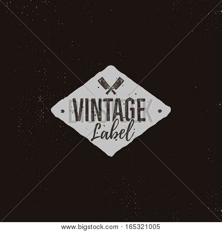 Vintage handcrafted label design. Letterpress effect with typography elements and steak knife cuts. Vector isolated on retro background.