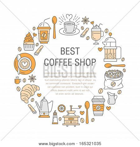Coffee making poster template. Brewing vector line icon, circle illustration for menu. Elements - coffemaker, french press, coffee grinder, espresso, croissant, cupcake.