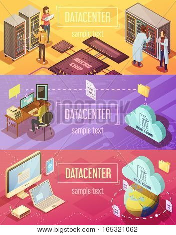 Set of isometric horizontal banners with  datacenter hosting server cloud storage and customer support isolated vector illustration poster
