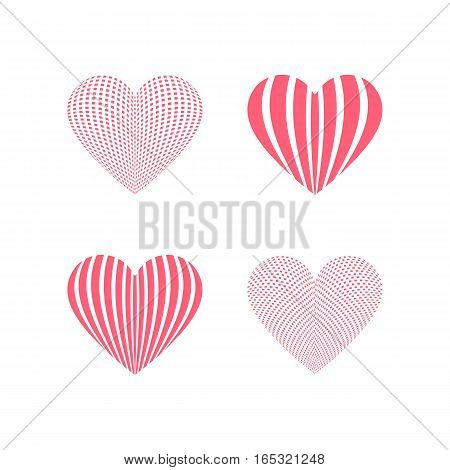 Red heart icons. Simple geometric hearts for design on Valentines Day. Love graphics sign