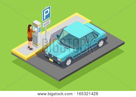 Parking isometric template with car roadsign and woman paying for place isolated vector illustration