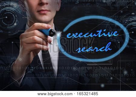 Business, Technology, Internet And Network Concept. Young Business Man Writing Word: Executive Searc