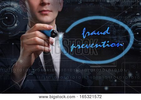 Business, Technology, Internet And Network Concept. Young Business Man Writing Word: Fraud Preventio