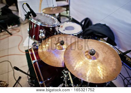 Set Of Musical Instruments Drums At Club