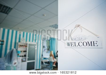 Wooden Welcome Sign Blue Beauty Salon Background