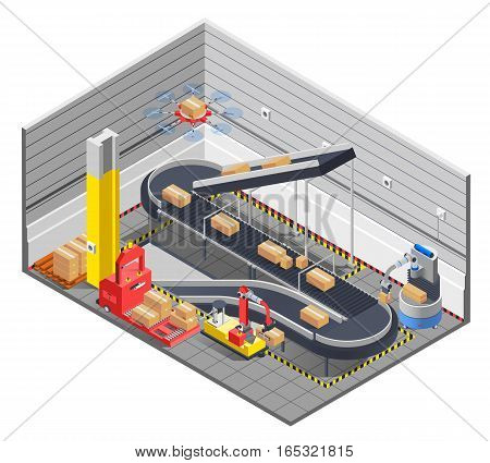 Automatic robotic warehouse section isometric interior with conveyor tape lifter images and electric manipulator moving boxes vector illustration