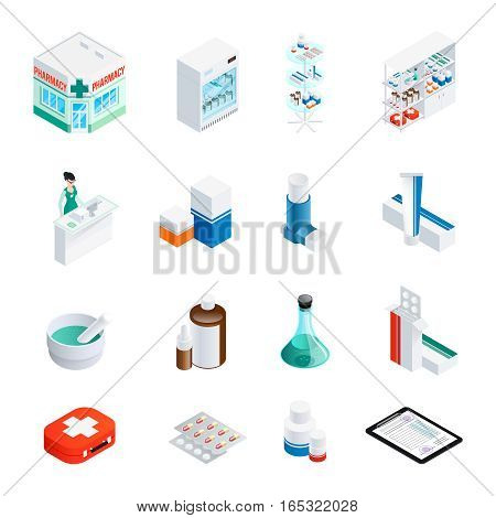 Set of isometric icons with pharmacy building and interior elements medication and recipe isolated vector illustration