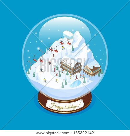 Ski resort snow globe souvenir with scaled down mountain village scenery with decorative piled houses ropeway vector illustration