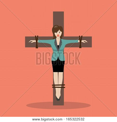 Crucified failure trouble business woman. Business concept