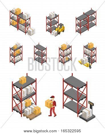 Isometric set of storage racks equipment and worker carrying box isolated vector illustration