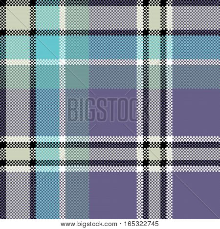Cool check fabric texture square pixel seamless pattern. Vector illustration.