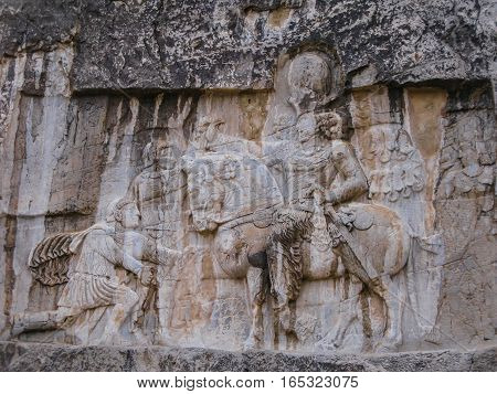 The triumph of Shapur I over the Roman emperors Valerian and Philip the ArabNaqsh-e Rustam Persepolis ruin Iran