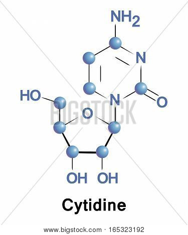 Cytidine is a nucleoside molecule that is formed when cytosine is attached to a ribofuranose N1-glycosidic bond. It is a component of RNA.