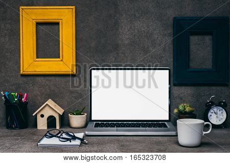 Looking for direction and inspiration, Business working at an office, Office desk table with computer, supplies, flower. Top view. Copy space for text