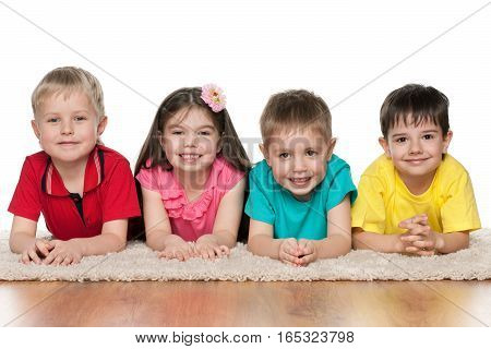 Four Children On The White Carpet