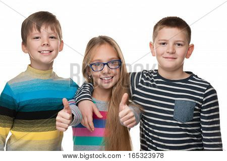 Cheerful Children Stand Together