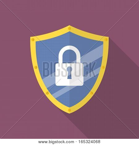 Protective shield flat icon with long shadow