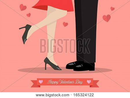 Young couple kissing on valentine's day. Male and female legs during a date