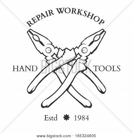 Set of vintage carpentry hand tools, repair service, labels and design elements vector illustration